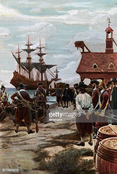Landing slaves from a Dutch manofwar ship at Jamestown VA Undated painting