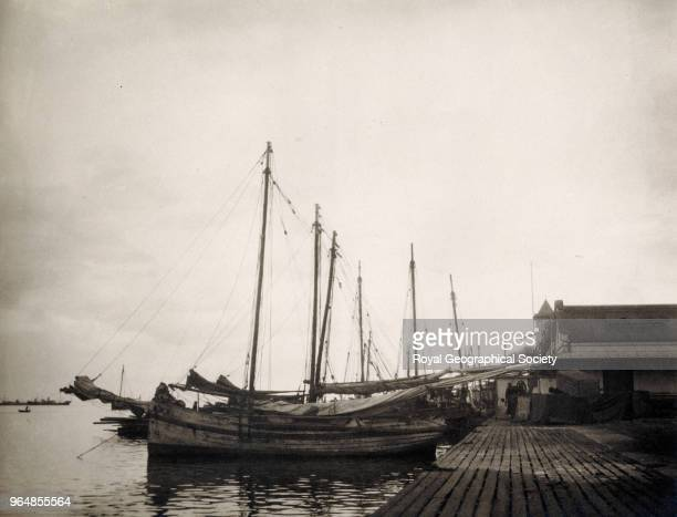 Landing stage in Port of Spain, Trinidad and Tobago, 1920.