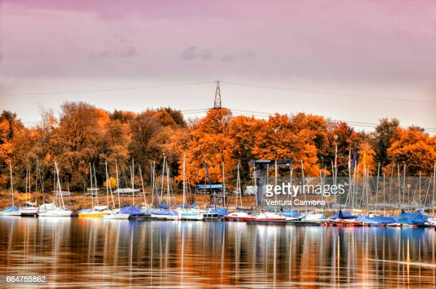 landing stage in the lake masurensee in duisburg, germany - beschaulichkeit stock pictures, royalty-free photos & images