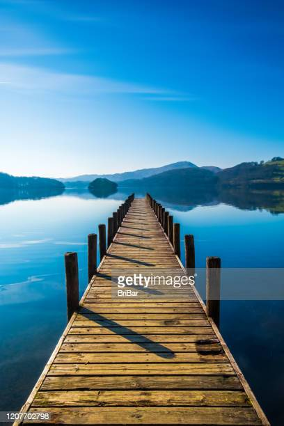 landing stage on coniston water, english lake district, cumbria, uk - english lake district stock pictures, royalty-free photos & images