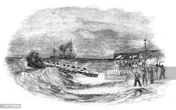 Landing the Abstract Express, at low water, 1844. Postal service between Britain and India - transferring the mail from a steamship to shore at...