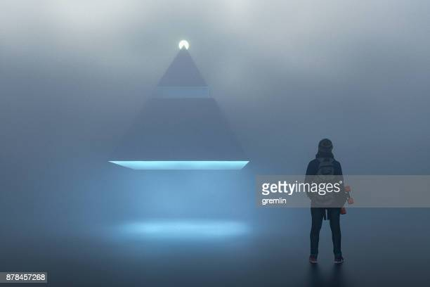 landing ufo pyramid in foggy night - spaceship stock photos and pictures