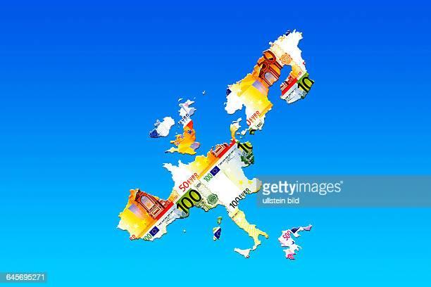 Landkarte von Europa aus Euroscheinen
