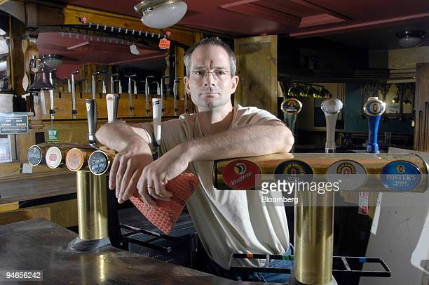 Landlord of the Plough pub Andrew Rogerson poses inside his damaged property in Catcliffe Sheffield UK on Tuesday Aug 7 2007 Six weeks after floods...