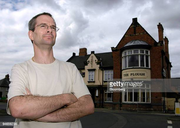 Landlord of the Plough pub Andrew Rogerson poses outside his damaged property in Catcliffe Sheffield UK on Tuesday Aug 7 2007 Six weeks after floods...