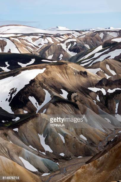 landmannalaugar in summer, iceland - volcanic rock stock pictures, royalty-free photos & images