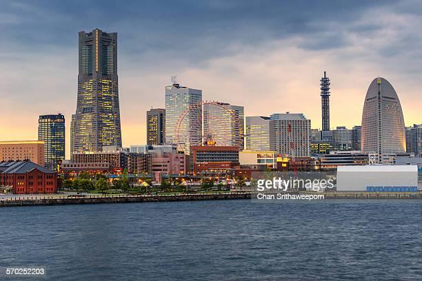 Landmark building, Yokohama city skyline, Japan