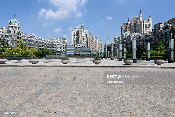 Landmark Castle Square and road in Dalian