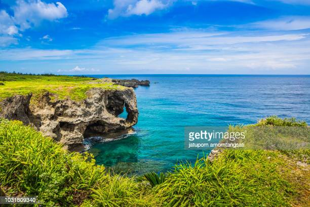 landmark in okinawa, japan, scenery of manzamo cape - flowing cape stock pictures, royalty-free photos & images