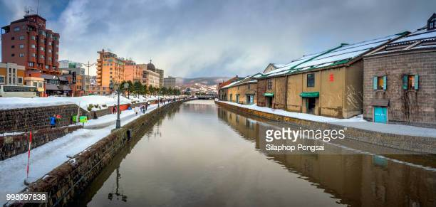 landmark of hokkaido, japan otaru canal in winter. - 小樽市 ストックフォトと画像