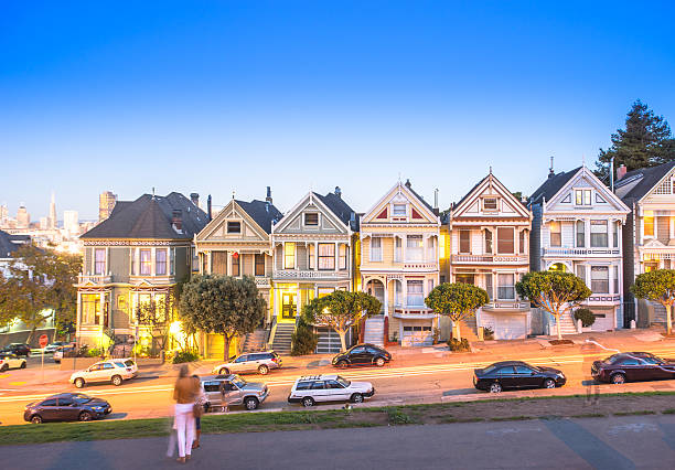 Landmark Residential House In San Francisco In Blue Sky Wall Art