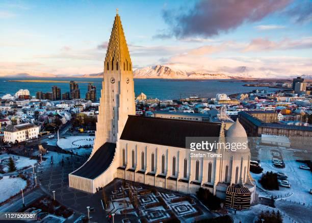 landmark view of reykjavik in iceland - reykjavik stock pictures, royalty-free photos & images