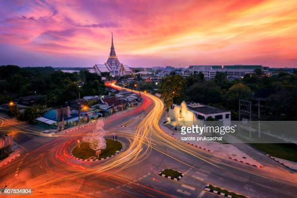 Landmark wat thai, sunset in temple at  Sothon Wararam  in Samutprakarn province Thailand .
