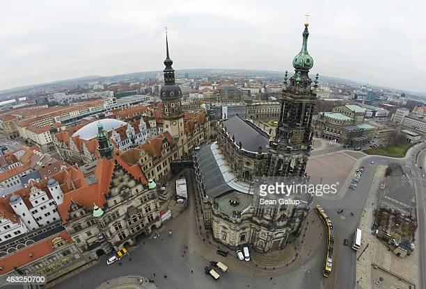 Landmarks in Dresden's historic city center including Residenzschloss Dresden palace the Catholic Hofkirche church and Semperoper opera house are...
