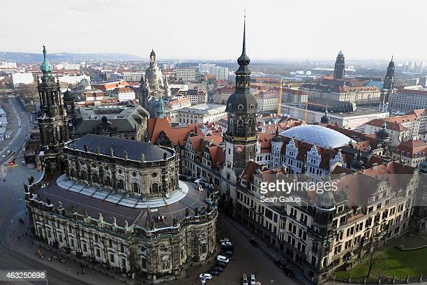 Landmarks in Dresden's historic city center including the Catholic Hofkirche church and Residenzschloss Dresden palace as well as Frauenkirche...