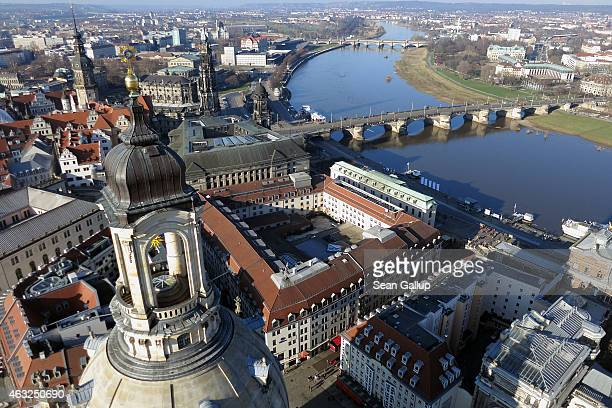 Landmarks in Dresden's historic city center including the Frauenkirche cathedral stand on the south bank of the Elbe Riber are seen from the air on...
