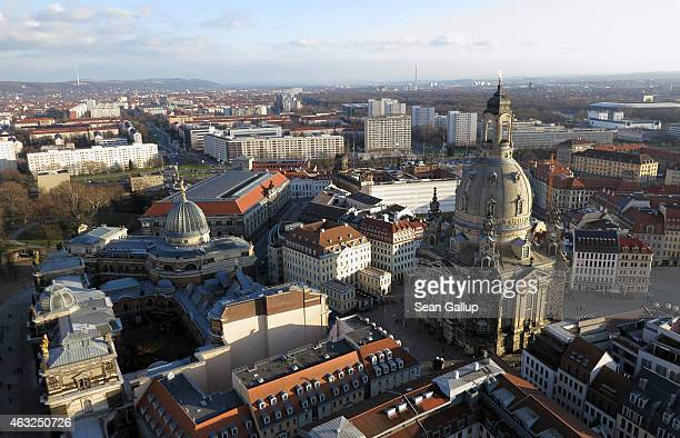 Landmarks in Dresden's historic city center including the Frauenkirche cathedral and Albertinum are seen from the air on January 18 2015 in Dresden...