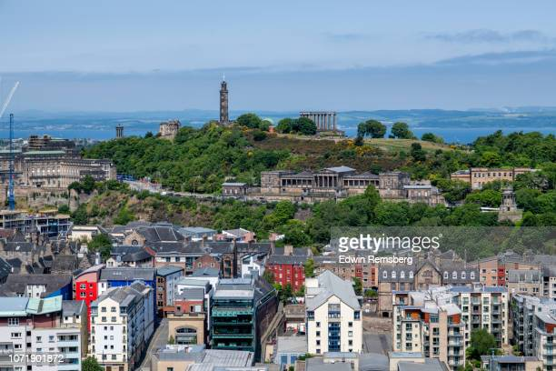 landmarks of calton hill - royalty stock pictures, royalty-free photos & images