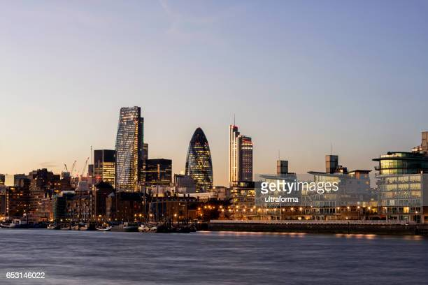 Landmarks of the City of London at dusk