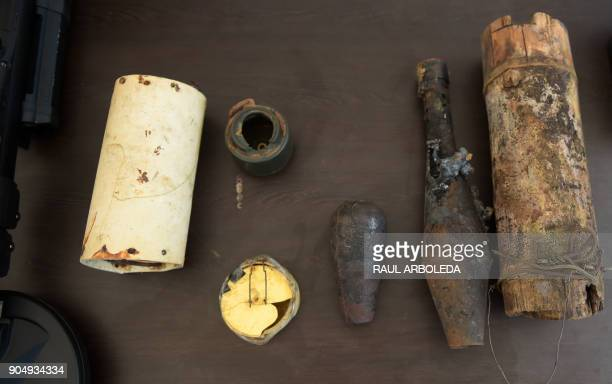 Landmines and other explosive devices are seen during a visit by United Nations SecretaryGeneral Antonio Guterres to the Buenavista 'Territorial Area...