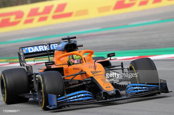 Lando Norris and the McLaren MCL 35 during the day 5 of the formula 1 testing on 27 February 2020 in Barcelona Spain