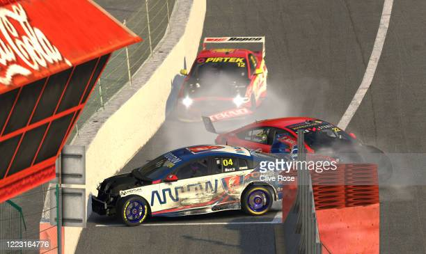 Lando Norris driving the Walkinshaw Andretti United Holden ZB Commodore and Chris Pither driving the Team Sydney Holden Commodore ZB collide during...
