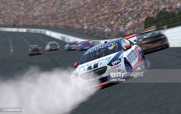 Lando Norris driving the Walkinshaw Andretti United Holden ZB Commodore hits the wall during round 7 of the Supercars All Stars Eseries at Charlotte...