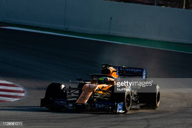 Lando Norris from Great Britain with 04 Mclaren F1 Team Renault MCL34 in action during the Formula 1 2019 PreSeason Tests at Circuit de Barcelona...