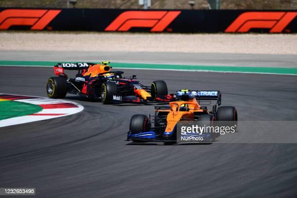 Lando Norris McLaren F1 Team drive his MCL35M single-seater during race of Portuguese GP, third round of Formula 1 World Championship in Autodromo...