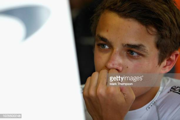 Lando Norris of Great Britain and McLaren F1 looks on in the garage during practice for the Formula One Grand Prix of Italy at Autodromo di Monza on...