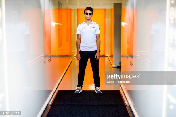 Lando Norris of Great Britain and McLaren F1 poses for a photo in the Paddock during previews ahead of the F1 Grand Prix of Austria at Red Bull Ring...