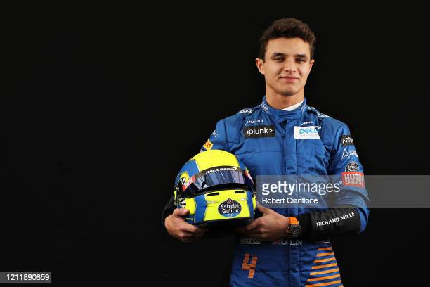 Lando Norris of Great Britain and McLaren F1 poses for a photo in the Paddock during previews ahead of the F1 Grand Prix of Australia at Melbourne...