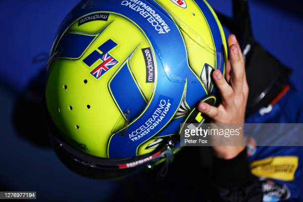 Lando Norris of Great Britain and McLaren F1 prepares to drive ahead of the F1 Grand Prix of Russia at Sochi Autodrom on September 27 2020 in Sochi...