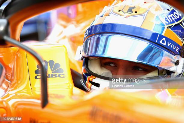 Lando Norris of Great Britain and McLaren F1 prepares to drive during practice for the Formula One Grand Prix of Russia at Sochi Autodrom on...
