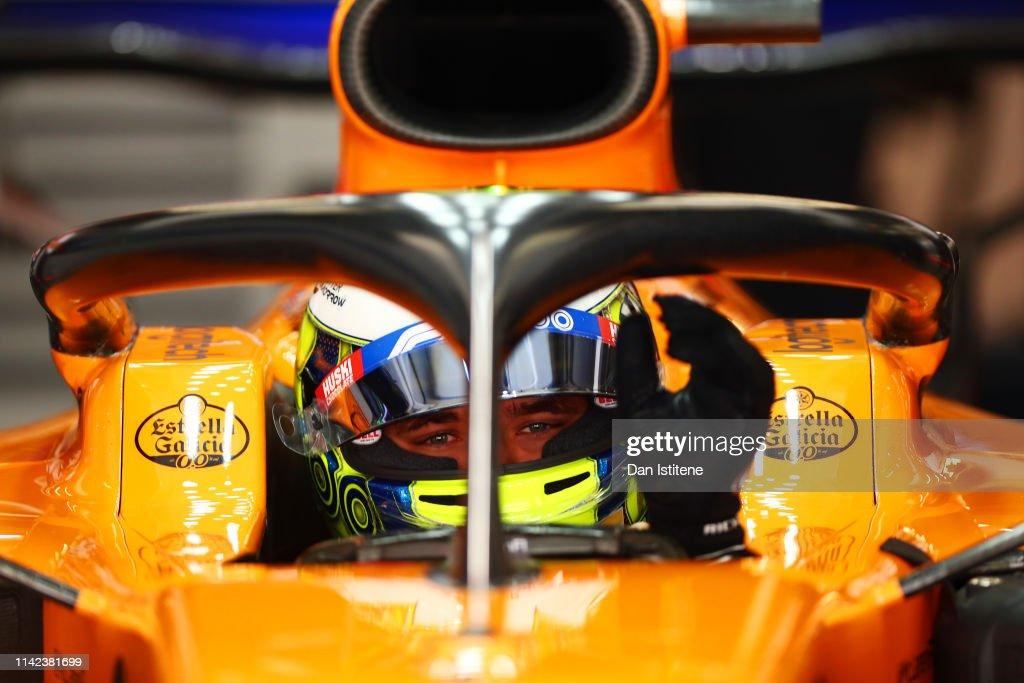 Lando Norris of Great Britain and McLaren F1 prepares to drive in
