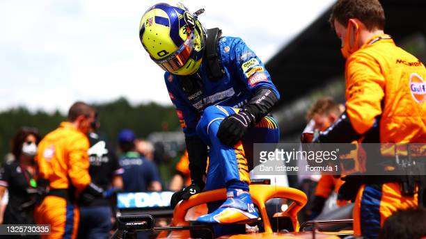Lando Norris of Great Britain and McLaren F1 prepares to drive on the grid ahead of the F1 Grand Prix of Styria at Red Bull Ring on June 27, 2021 in...