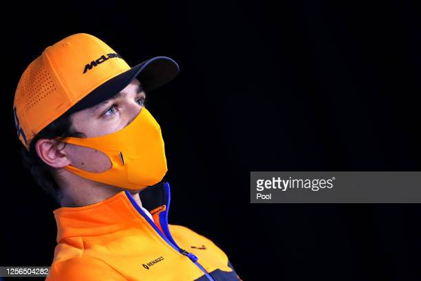 Lando Norris of Great Britain and McLaren F1 talks in the Drivers Press Conference during previews for the F1 Grand Prix of Hungary at Hungaroring on...