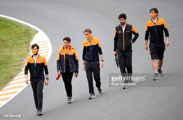 Lando Norris of Great Britain and McLaren F1 walks the track during previews ahead of the F1 Grand Prix of The Netherlands at Circuit Zandvoort on...