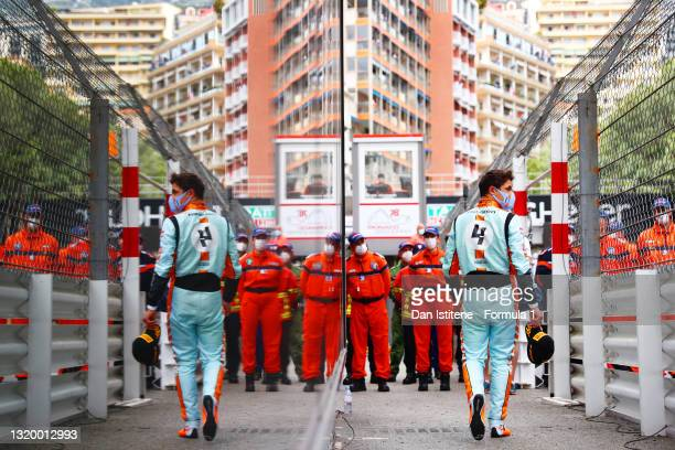 Lando Norris of Great Britain and McLaren walks underneath the podium after finishing third in the F1 Grand Prix of Monaco at Circuit de Monaco on...