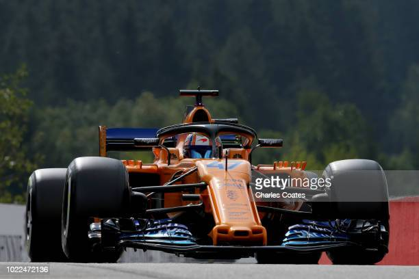 Lando Norris of Great Britain driving the McLaren F1 Team MCL33 Renault on track during practice for the Formula One Grand Prix of Belgium at Circuit...