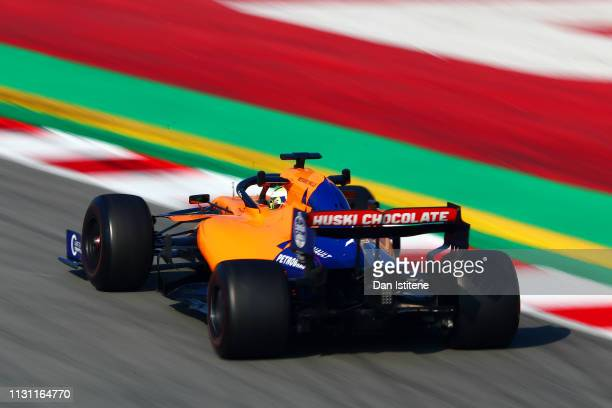 Lando Norris of Great Britain driving the McLaren F1 Team MCL34 Renault during day four of F1 Winter Testing at Circuit de Catalunya on February 21...
