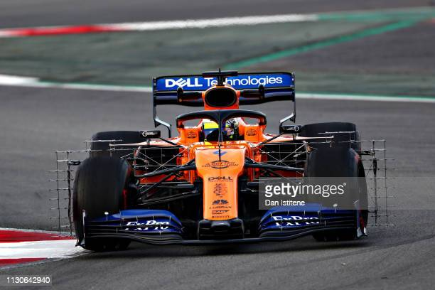 Lando Norris of Great Britain driving the McLaren F1 Team MCL34 Renault on track during day two of F1 Winter Testing at Circuit de Catalunya on...