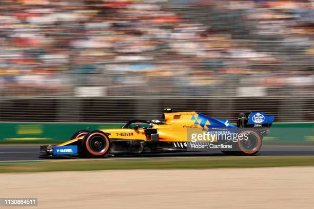 Lando Norris of Great Britain driving the McLaren F1 Team MCL34 Renault on track during qualifying for the F1 Grand Prix of Australia at Melbourne...