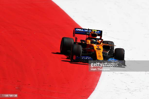 Lando Norris of Great Britain driving the McLaren F1 Team MCL34 Renault runs wide during practice for the F1 Grand Prix of Austria at Red Bull Ring...