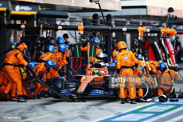 Lando Norris of Great Britain driving the McLaren F1 Team MCL35 Renault stops in the Pitlane during the F1 Grand Prix of Russia at Sochi Autodrom on...
