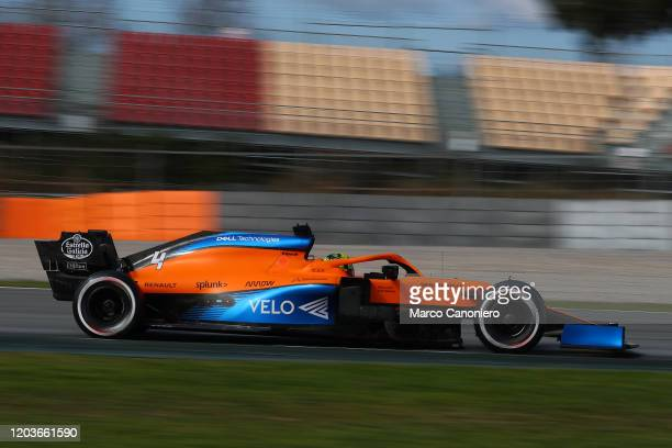 Lando Norris of Great Britain driving the McLaren F1 Team MCL35 on track during day five of F1 Winter Testing