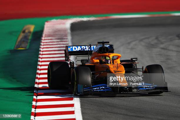 Lando Norris of Great Britain driving the McLaren F1 Team MCL35 Renault on track during Day Two of F1 Winter Testing at Circuit de BarcelonaCatalunya...