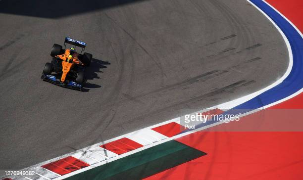 Lando Norris of Great Britain driving the McLaren F1 Team MCL35 Renault on track during the F1 Grand Prix of Russia at Sochi Autodrom on September...