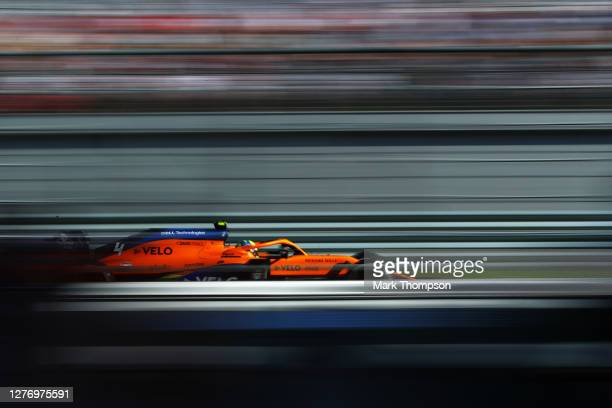 Lando Norris of Great Britain driving the McLaren F1 Team MCL35 Renault on track during the F1 Grand Prix of Russia at Sochi Autodrom on September 27...