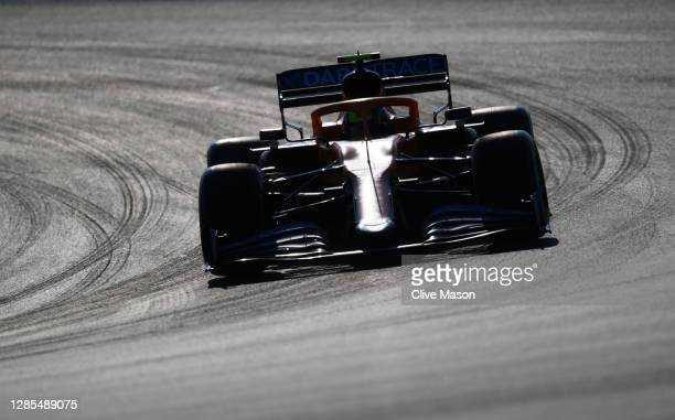 Lando Norris of Great Britain driving the McLaren F1 Team MCL35 Renault on track during practice ahead of the F1 Grand Prix of Turkey at Intercity...